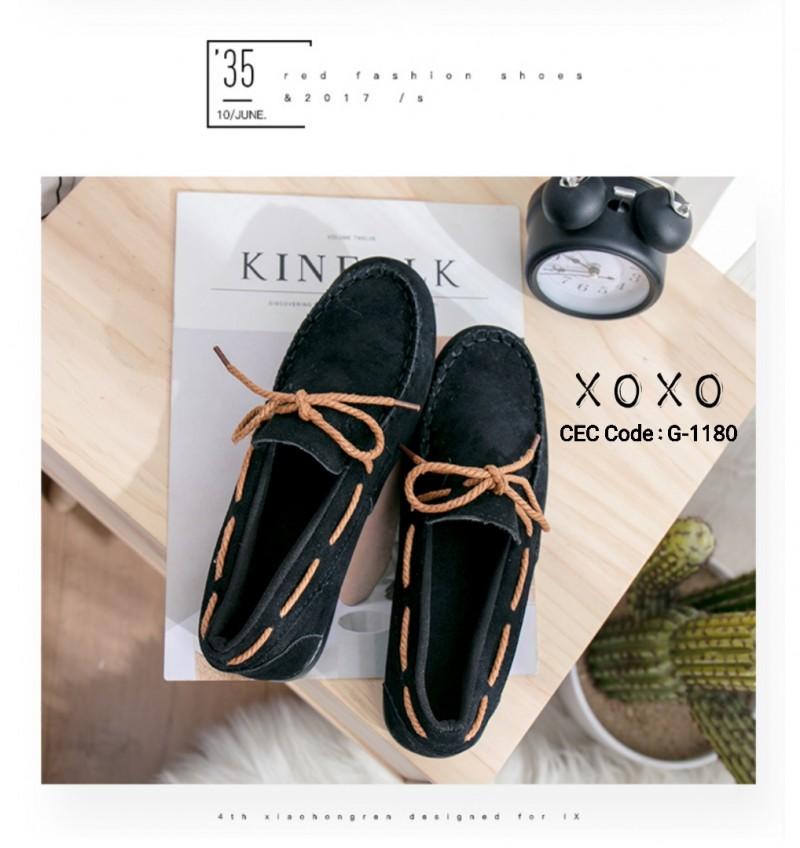 พร้อมส่ง รองเท้าคัทชูส้นแบน TOD'S เชือกผูกโบ G-1180-BLK [สีดำ]