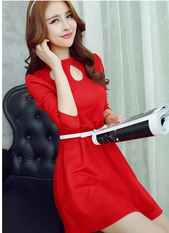 ชุดเดรสแฟชั่นเกาหลีสีแดงสุดเก๋