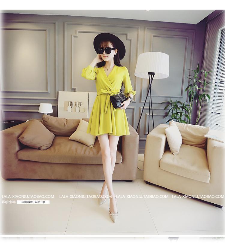 ชุดเดรสทำงานแฟชั่นเกาหลีสีเหลืองกระโปรงบานแขนสี่ส่วนมีเชือกผูกเอวน่ารักๆ
