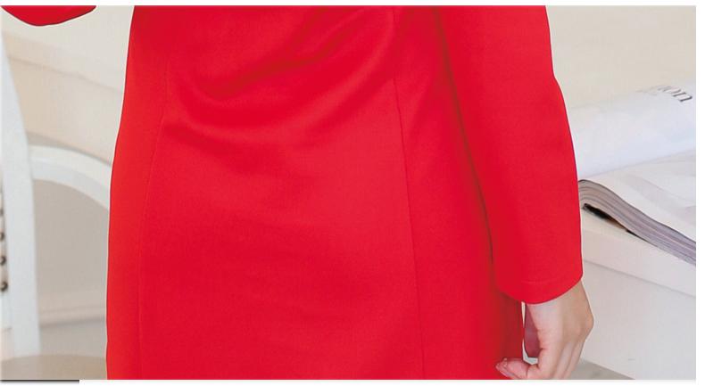 รับตัวแทนจำหน่ายชุดเดรสทำงานแฟชั่นเกาหลีสีแดงคอวี