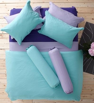 ชุดเครื่องนอน ผ้าปูที่นอน : อิมเพรสชั่น ผ้าสีพื้น : LI - SD -14 สีฟ้าอ่อน