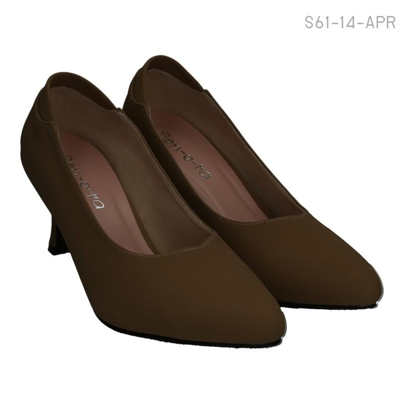 รองเท้าคัทชูส้นสูง เรียบหรู ทรงสุภาพ (สีน้ำตาล )