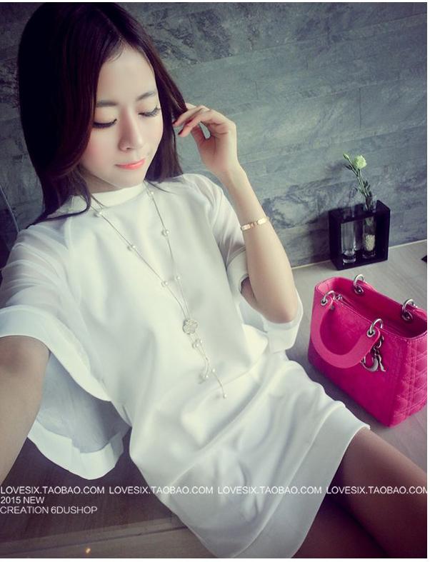 รับตัวแทนจำหน่ายชุดเดรสแฟชั่นเกาหลีสีขาวน่ารักๆ