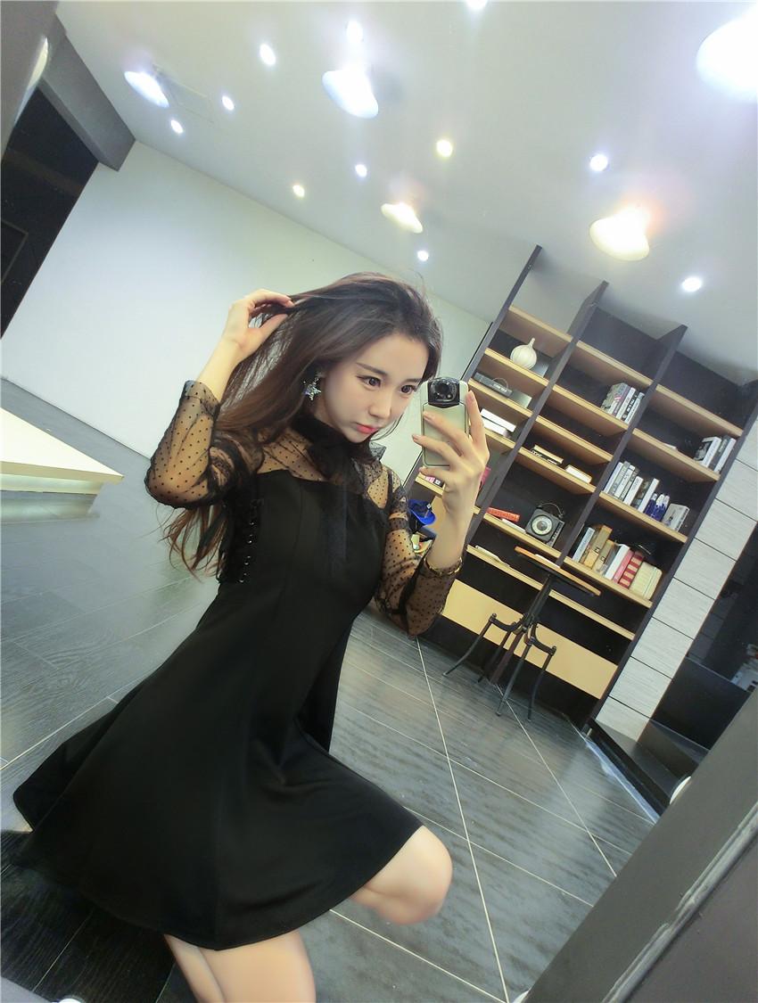 ชุดเดรสแฟชั่นเกาหลีสีดำไฮโซ