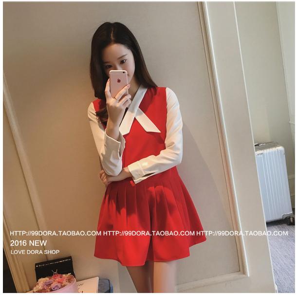 รับตัวแทนจำหน่ายชุดเดรสทำงานแฟชั่นเกาหลีสีแดง