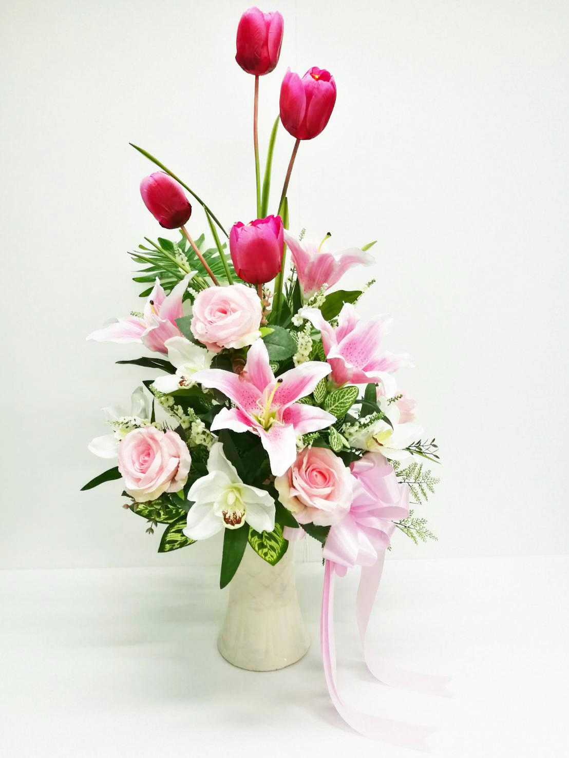 แจกันดอกไม้ประดิษฐ์โทนชมพูใหญ่ รหัส 3080