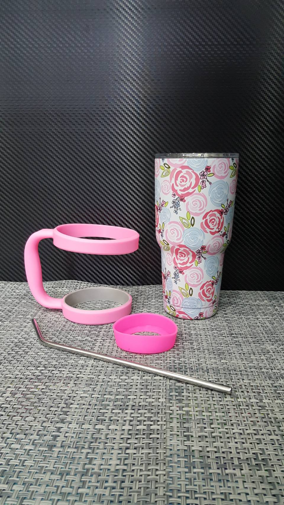 ชุดแก้วเยติ 30 ออนซ์ ลายดอกกุหลาบ สีชมพู