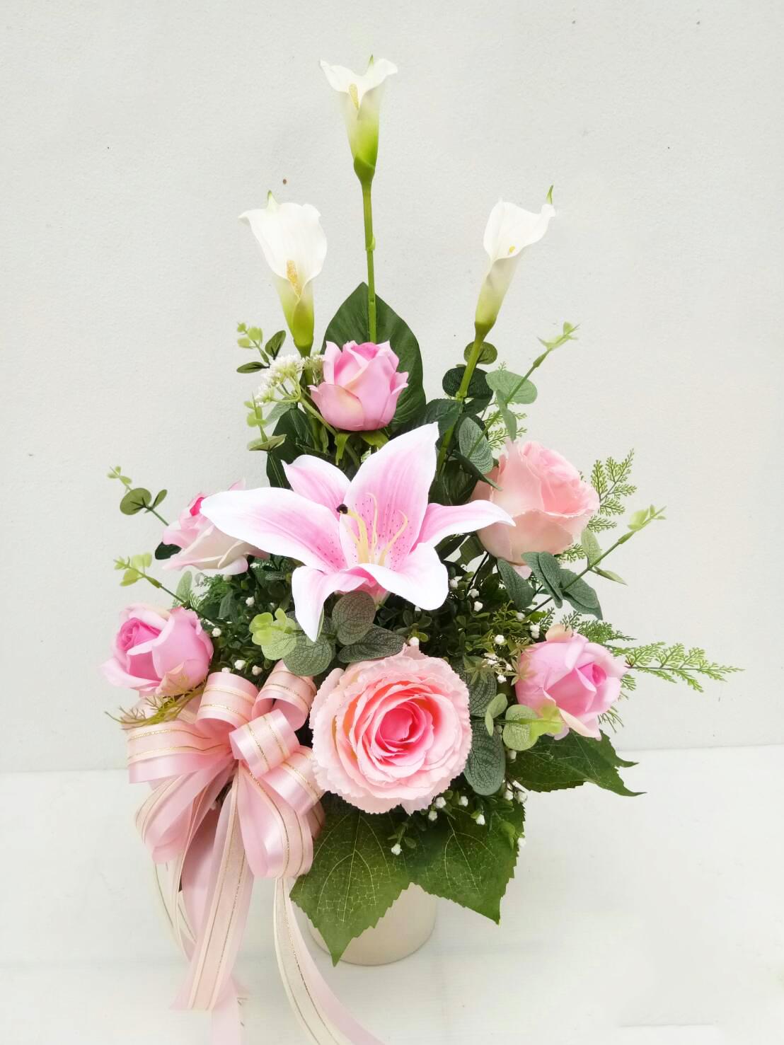 แจกันดอกไม้ประดิษฐ์กลางชมพู รหัส 3073