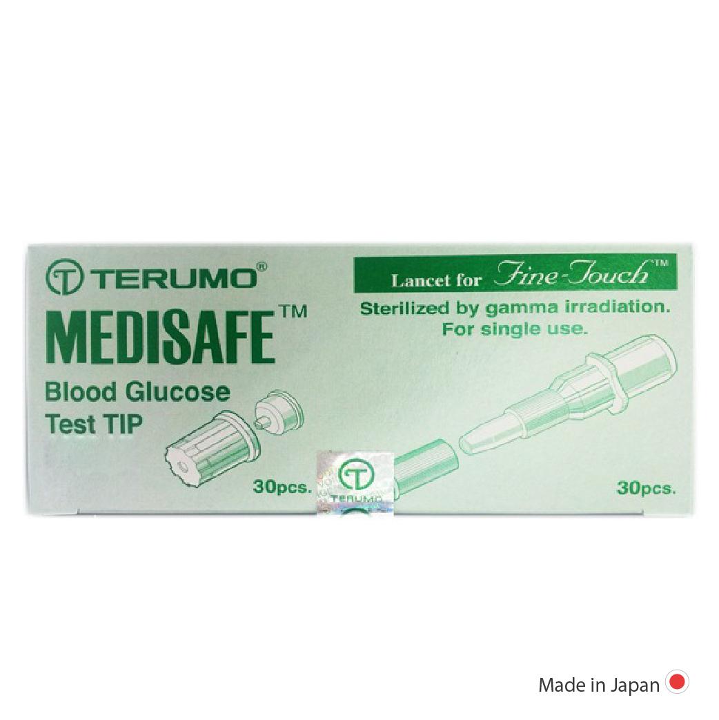 แผ่นตรวจน้ำตาลพร้อมเข็มเจาะเลือด รุ่น Terumo medisafe mini อย่างละ 30 ชุด