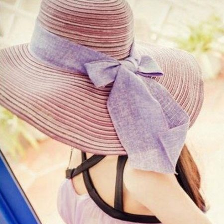 หมวกทรงWide brim สีลายโรส ONE SIZE