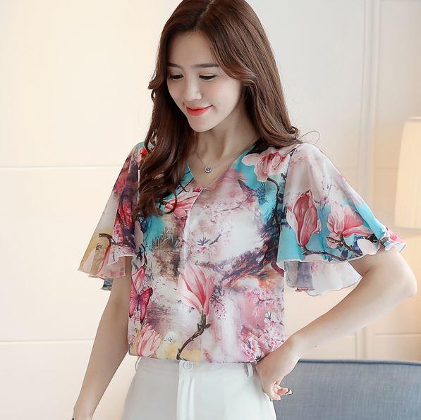 Preorder เสื้อทำงาน สีม่วง คอวี แขนระบาย ตัวเสื้อพิมพ์ลายดอกไม้สวยๆ