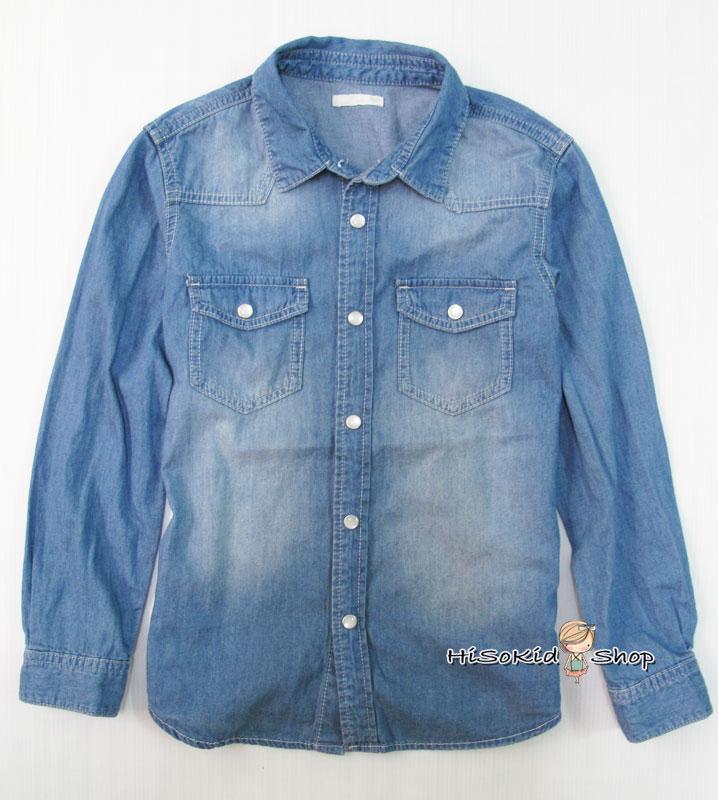 1120 GU Denim Shirt - Blue ขนาด 130