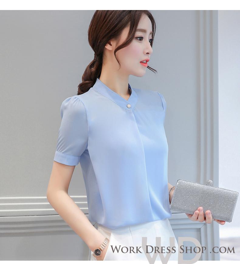 Preorder เสื้อทำงาน สีฟ้า แต่งคอป้ายติดกระดุมเก๋ๆ แขนสั้น เนื้อผ้าระบายอากาศได้ดี