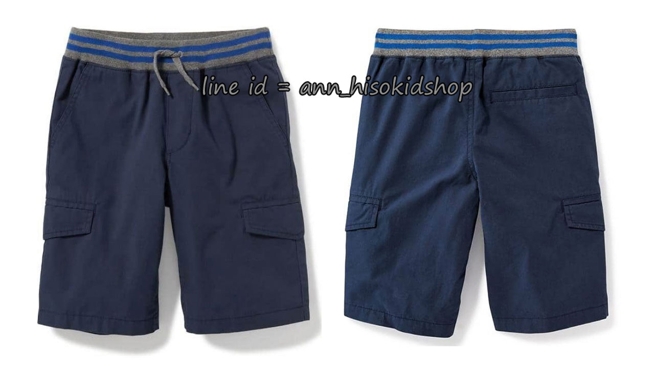 1840 Rib-Knit Waist Canvas Cargo Shorts for Boys - New Navy ขนาด 10-12,18 ปี