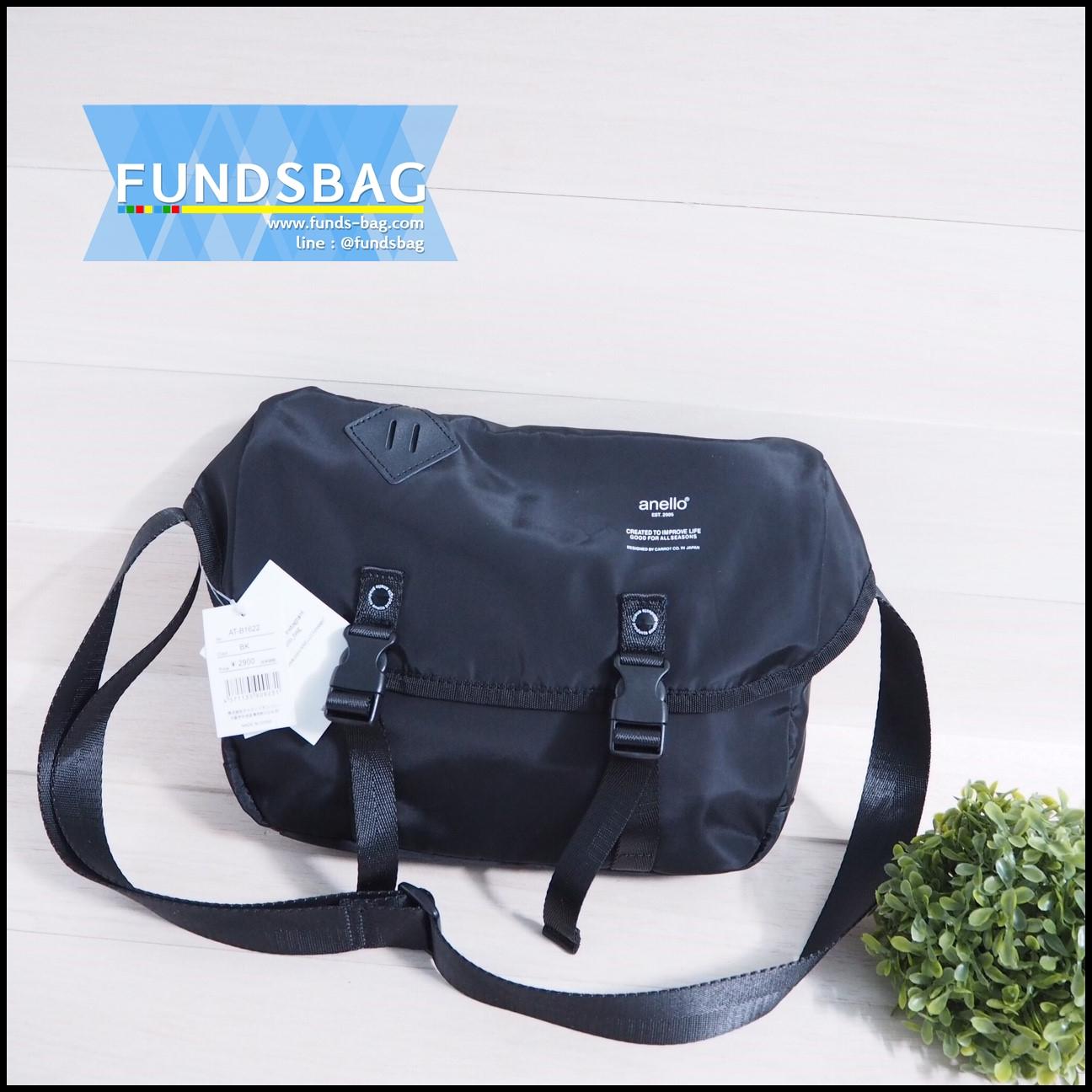 กระเป๋าสะพายข้าง Anello logo print messenger bag-สีดำ-