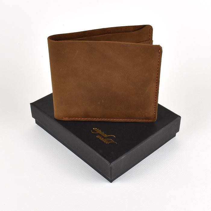 OW-872 ของขวัญวันเกิด กระเป๋าสตางค์ผู้ชาย หนังแท้ ใบสั้น สีน้ำตาล