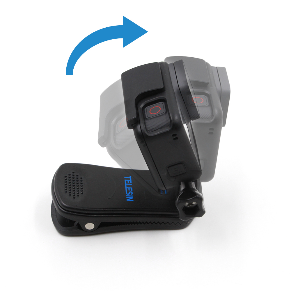 TELESIN 360 Degree Rotary Backpack Clip Hat Clamp Stand Mount Rec-mounts Fast Hat Clip Mount for GoPro Hero 6 5 4 3 Accessories