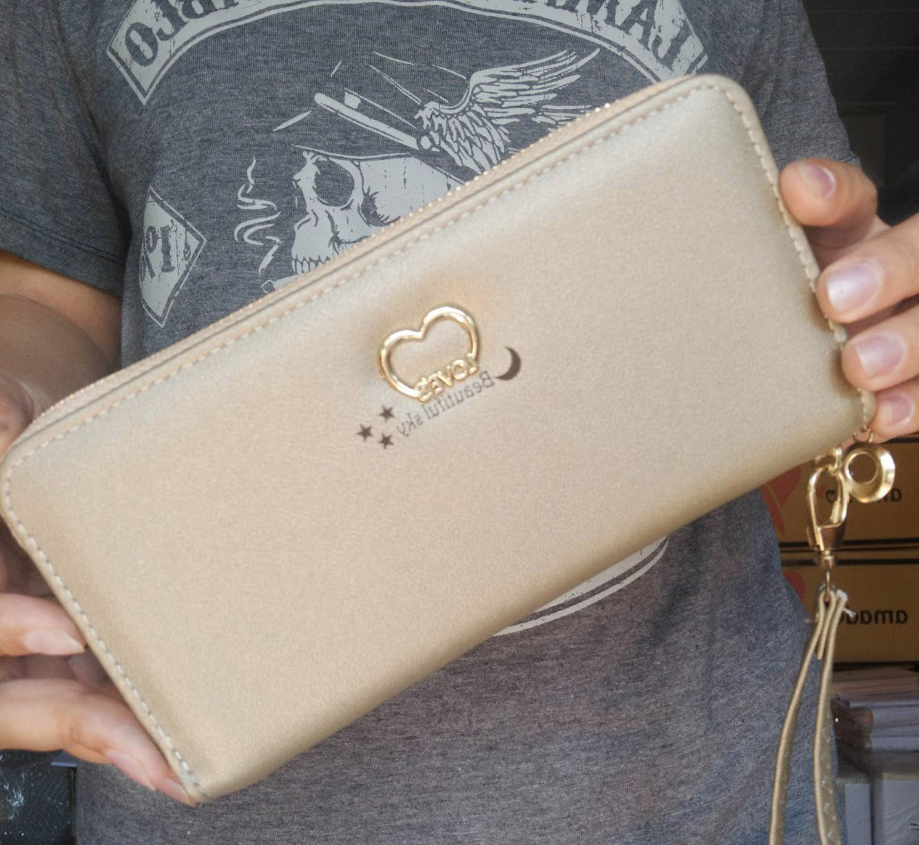 กระเป๋าสตางค์ใบยาวซิปรอบสีทอง Beautiful sky