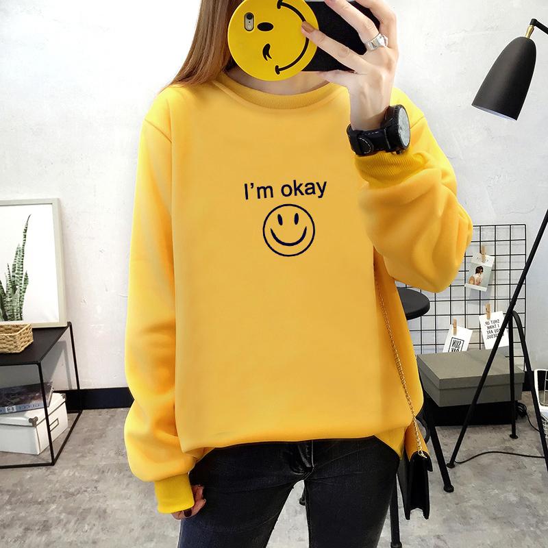 เสื้อแขนยาวแฟชั่นพร้อมส่ง เสื้อแขนยาวสีเหลือง แต่งสกรีนรูปยิ้ม I'm okay +พร้อมส่ง+