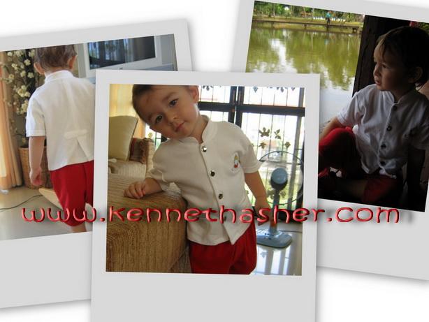THR1 เสื้อผ้าเด็ก ชุดไทยเด็กน้อย ชุดราชปะแตน โจงกระเบน สีแดง ผ้ายืดคอตตอนใส่สบาย น่ารักน่าเอ็นดูไม่เหมือนใคร Size 1