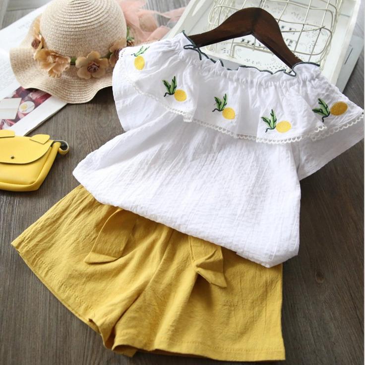 เสื้อ+กางเกง สีเหลือง แพ็ค 5 ชุด ไซส์ 90-100-110-120-130