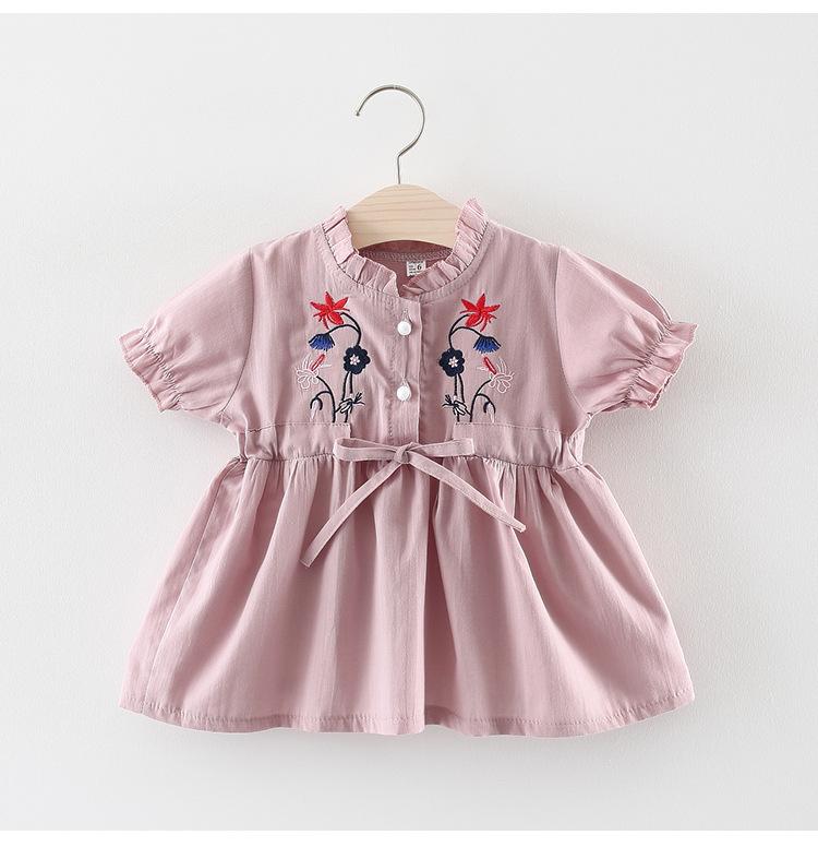 ชุดเดรสสีชมพูปักลายดอกไม้ที่หน้าอก แพ็ค 3 ชุด [size 6m-18m-2y]