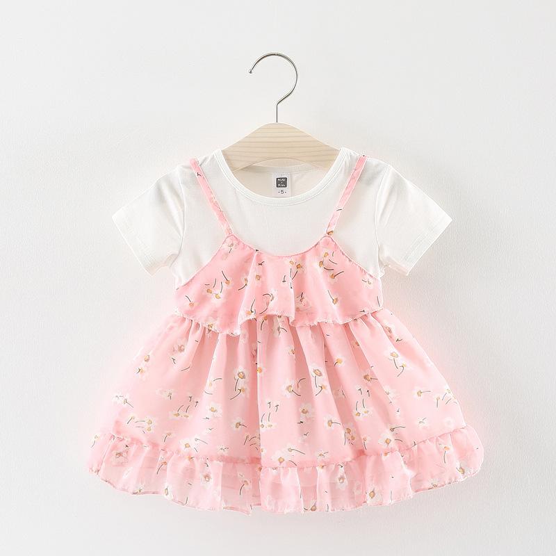 ชุดเดรสเสื้อสีขาวกระโปรงดอกไม้สีชมพู [size 6m-1y-18m-2y]