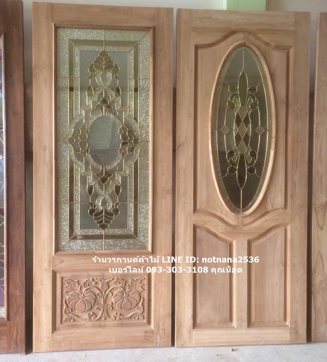 ประตูไม้สักกระจกนิรภัย เกรดA รหัสAB24