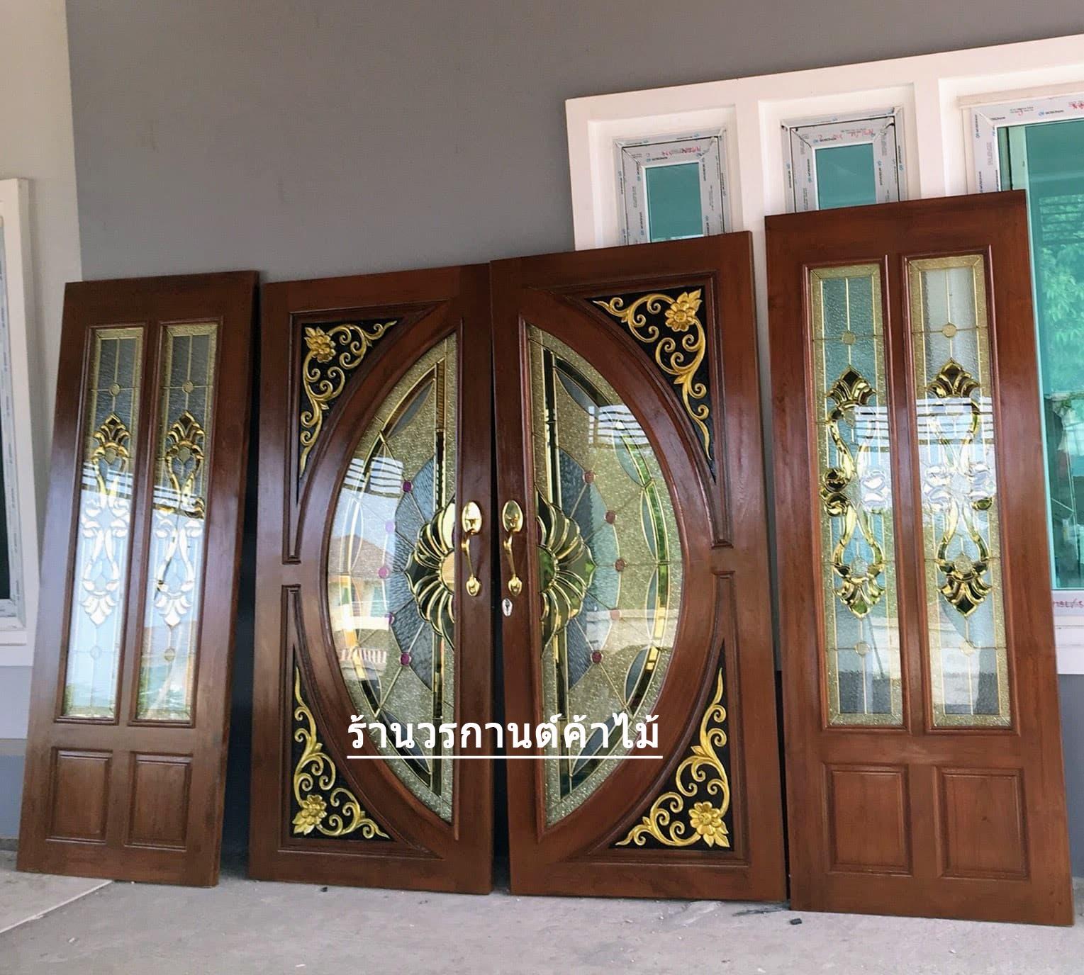 ประตูไม้สักกระจกนิรภัย ชุด4ชิ้น รหัส AAA95