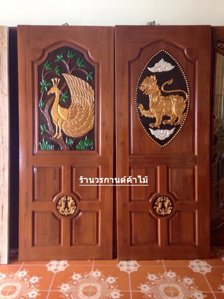ประตูไม้สักบานเดี่ยวแกะสิง เกรดA, B+ รหัส C36