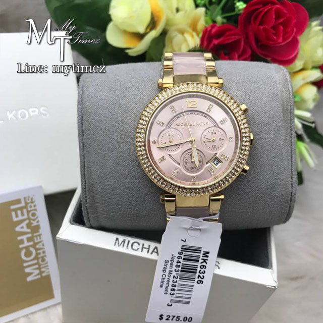 MICHAEL KORS Parker Pink Dial Gold-Tone Stainless Steel Pink Acetate Ladies Watch MK6326