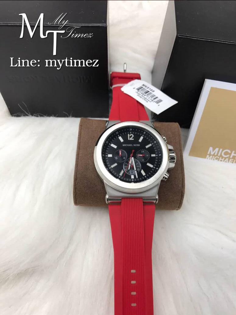 นาฬิกาข้อมือ MICHAEL KORS รุ่น Dylan Chronograph Black Dial Stainless Red Band MK8169