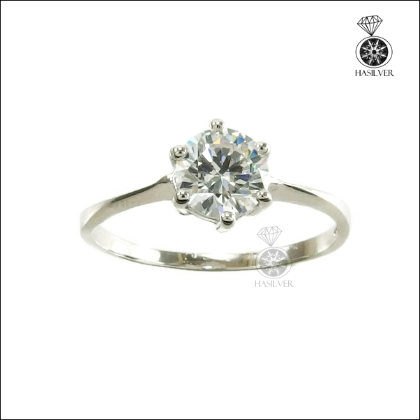 แหวนเงินแท้ ชุบทองคำขาว หนาพิเศษ ประดับเพชรCZ จากอเมริกา