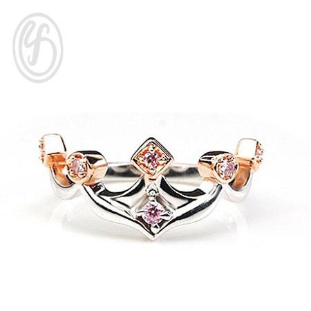 แหวนเงินเกลี้ยง เงินแท้ 92.5% แหวนมงกุฎ ฝังเพชรสังเคราะห์ cz ชุบพิงค์โกล์