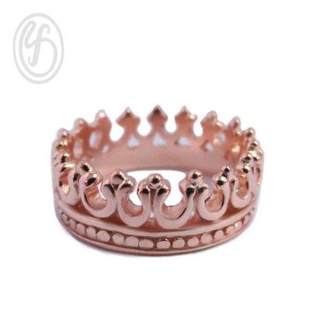 แหวนเงินเกลี้ยง เงินแท้ 92.5% แหวนมงกุฏ ชุบพิงค์โกล์ หน้าหว้าง 6 มม.