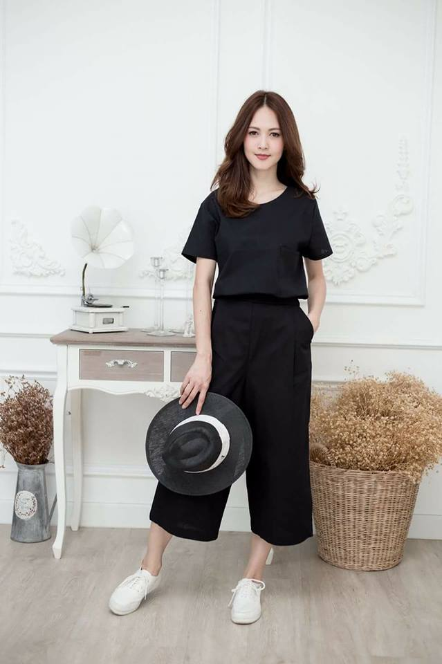 😁Single pocket top+pants set😁_Black