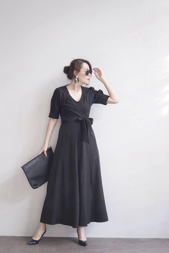 Wrapped Maxi Dress สีดำ