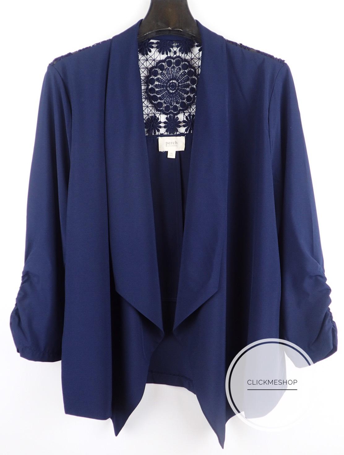 ( ไซส์ 2X หน้าอก 48-50 นิ้ว ) เสื้อคลุม สีน้ำเงิน ยี่ห้อ Perch by blupepper จีบแขน ด้านหลังแต่งโคเชน่ารักคะ