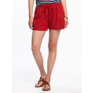 ( ไซส์ L เอว 32-34 นิ้ว) กางเกงขาสั้น ผ้าลินิน สีแดง ยี่ห้อ Oldnavy มีเชือกรูดผูกเอว