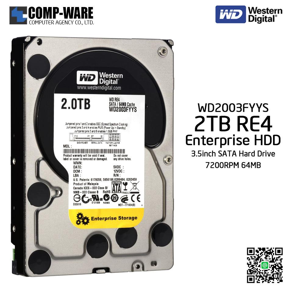 WD RE4 2TB Enterprise Class Hard Drive 7200RPM SATA 6Gb/s 64MB Cache 3.5Inch - WD2003FYYS