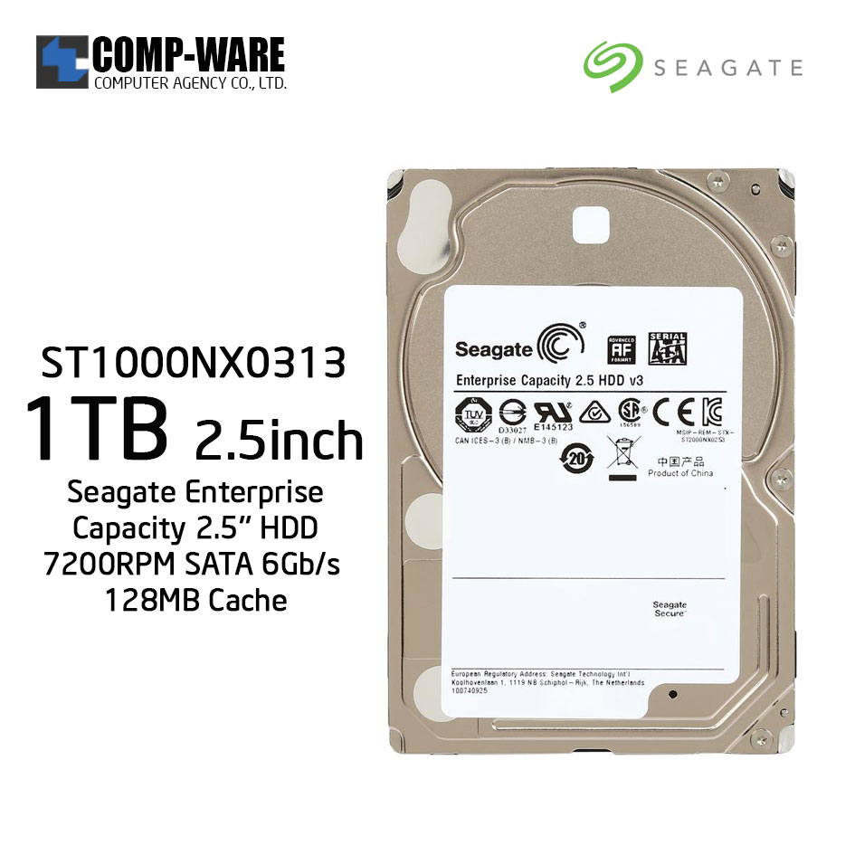 Seagate 1TB Enterprise Capacity 2.5'' HDD 7200RPM SATA 6Gb/s 128MB Cache Internal Hard Drive ST1000NX0313