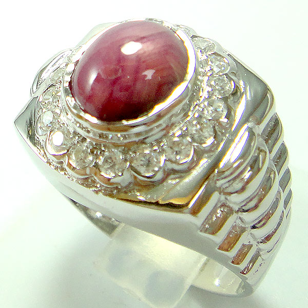 แหวนพลอยผู้ชายเงินแท้ 92.5 เปอร์เซ็น ฝังด้วยพลอยทับทิมแท้