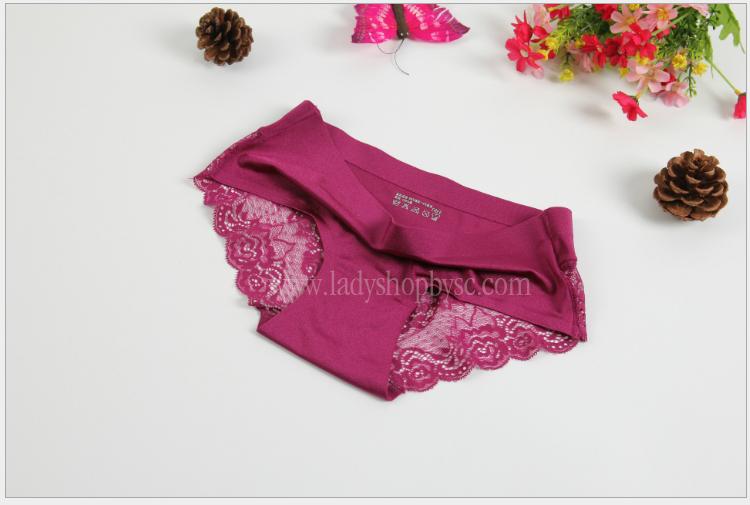 กางเกงในไร้ขอบซีทรูขอบขา สีม่วงเปลือกมังคุด