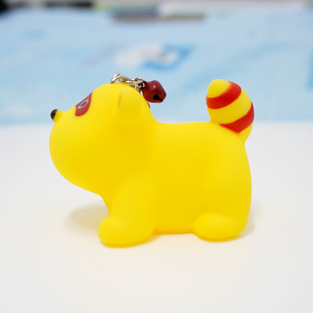 พวงกุญแจยาง หมาน้อยสีเหลือง(บีบมีเสียง) 12อัน