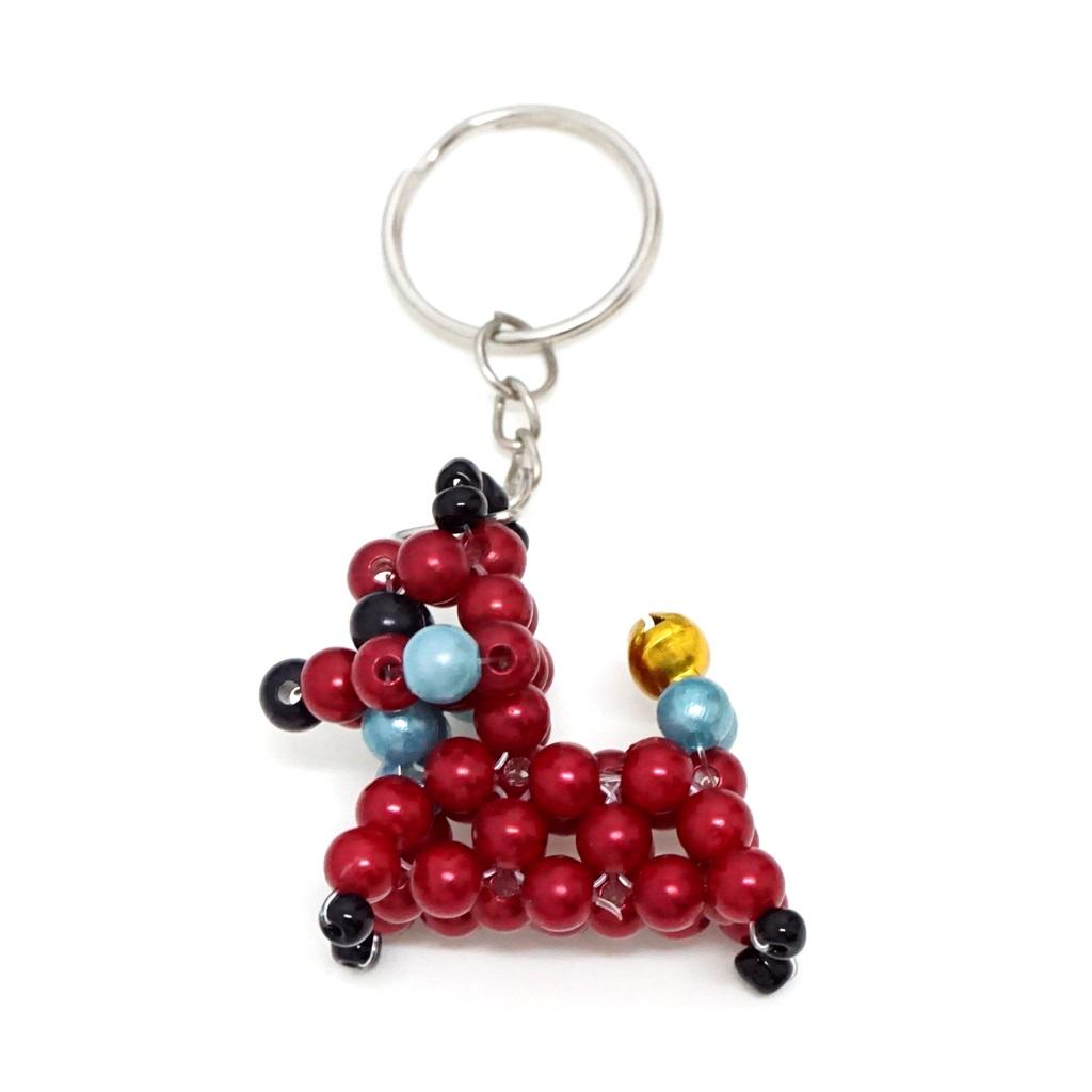 พวงกุญแจลูกปัด หมาน้อย(สีเลือดหมู) 12อัน