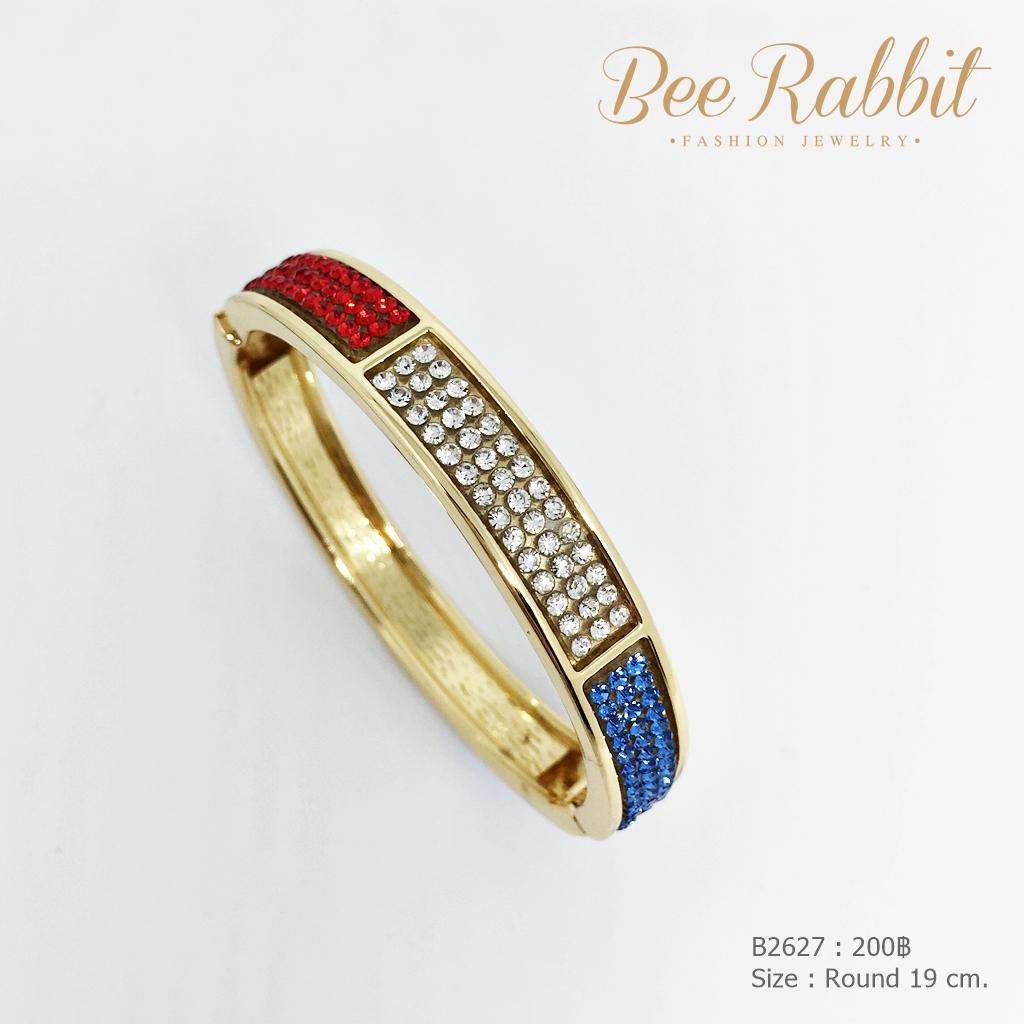 กำไลข้อมือแบบง้างสีทอง ฝังเพชรสามสี ขาว แดง น้ำเงิน
