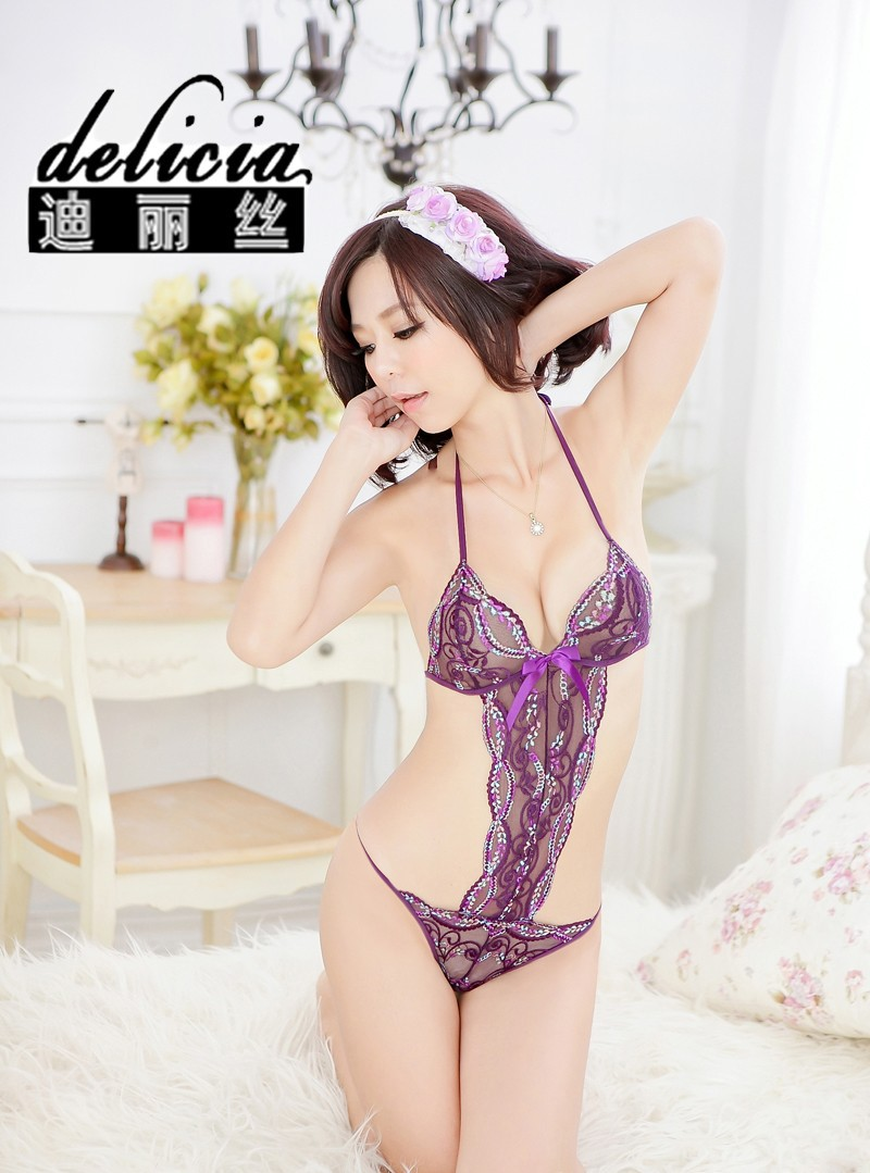 Sexy Bodysuit ชุดนอนบอดี้สูทสีม่วงทอลายดอกไม้แสนสวยสไตล์เจ้าหญิง E04483