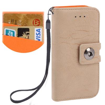 Case เคส Litchi Texture Button Flip Holster for iPhone 5 (Beige)