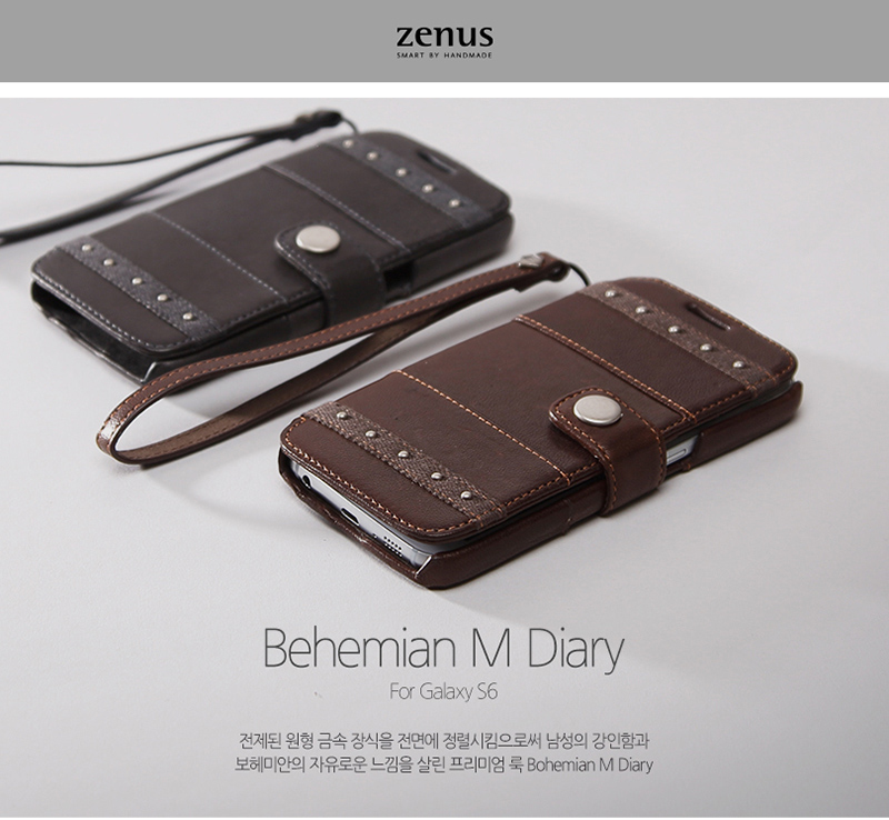 Zenus : Genuine Leather Cover Case [Bohemian M Diary] For Samsung Galaxy S6