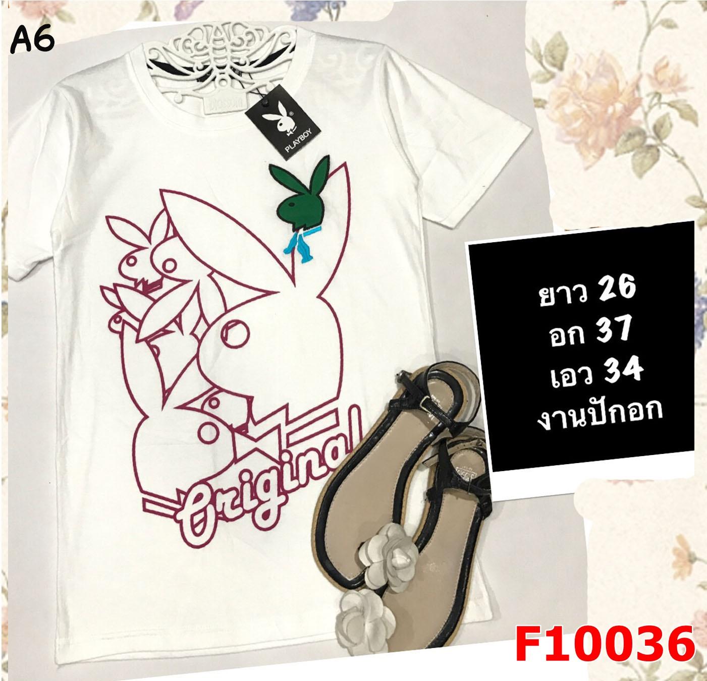 F10036 เสื้อยืด แขนสั้น สกรีนลาย กระต่าย PLAY BOY(งานปักอก) สีขาว